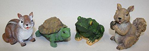 Cheap Set of 4 Garden Animals ~ Squirrel, Chipmunk, Frog and Turtle Polyresin