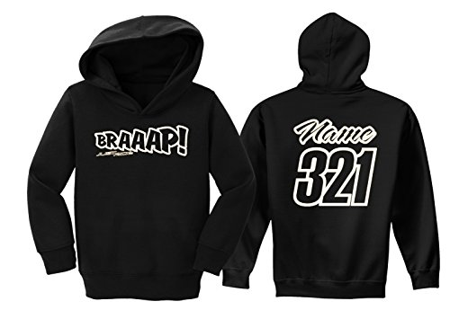 - JUST RIDE Braaap Toddler Youth Hoodie Sweat Shirt Motocross Number Plate Custom Personalized (5/6, White)