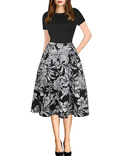 oxiuly Women's Vintage Round Neck Floral Casual Pockets Tunic Party Cocktail Cotton Blend A-Line Summer Dress OX262 (XL, Black White FPT)