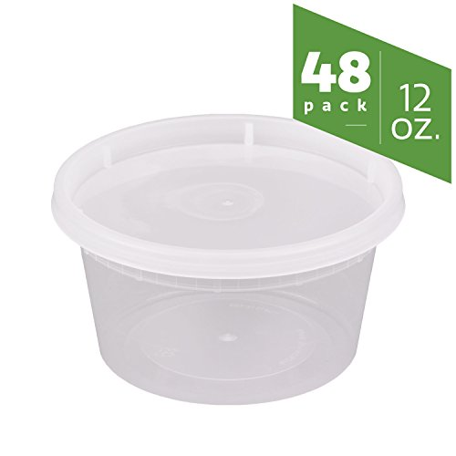 Plastic Lid Round Step (12 oz. Plastic Deli Food Storage Containers with Airtight Lids [48 Sets])