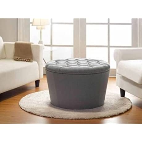 Round Tufted Ottoman Hidden Storage Space Modern Hassock Elegant Designed Footstool Comfortable Seating Perfect For Your Living Room Very Sturdy Removable Top Multiple Colors Grey