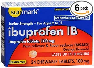 Sunmark Ibuprofen IB 100 mg Chewable Tablets - 24 ct, Pack of 6 by Sunmark