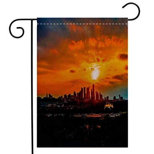 BEIVIVI Custom Double Sided Seasonal Garden Flag Sunrise Over Austin Texas USA Skyline Keep Best City TX Garden Flag Waterproof for Party Holiday Home Garden Decor]()