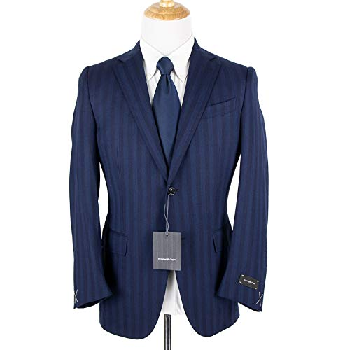 Ermenegildo Zegna Mila Blue Wool Wide Stripe Woven for sale  Delivered anywhere in USA