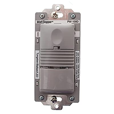 Watt Stopper PW-100D-G PIR Wall Switch Occupancy Sensor, 120/277V, Gray