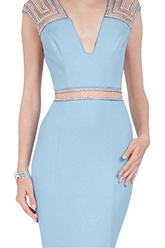 Liebling Mermaid Abendkleid Steine Ausschnitt V Himmelblau Promkleid Damen Ivydressing Festkleid Lang Partykleid Satin wZERq5R
