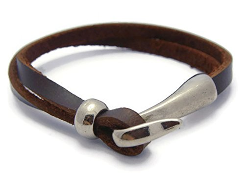 ZVACE Jewelry Brown Leather Silver Plated Nautical Inspired Fish Hook Charm Wristband Bracelet, SA10