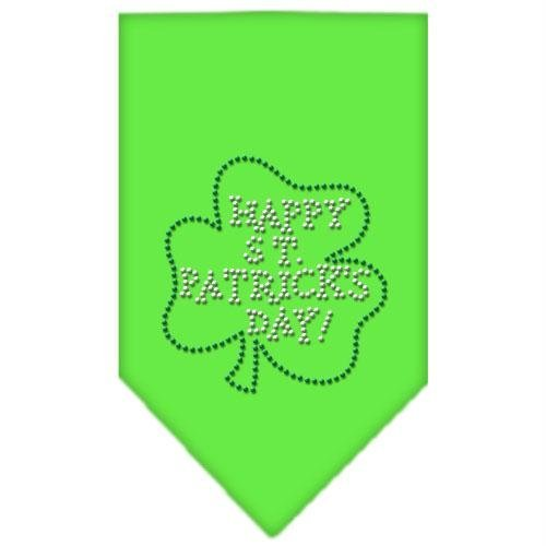Mirage Pet Products Happy St. Patricks Day Rhinestone Bandana, Small, Lime Green