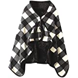 Iusun Tartan Plaid Shawl Scarf Doublelayer Wrap Blanket Multifunction Versatile Shawl Shoulder Warm Home Office Bedroom Car Trip Subway Plane Festival Gift for Women Lady Winter Cool Weather Use (E)