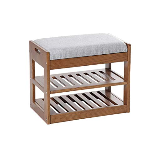 ZTMN Furnit Shoe Bench Solid Wood Shoe Rack Simple Modern Shoes Bench Fabric Cushion Door Hall Double Shoe Rack (Color : A)