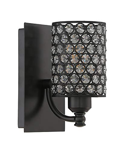 Seenming Lighting 1 Light Crystal Wall Sconce Lighting with Painting Black,Modern and Concise Style Wall Light Fixture…