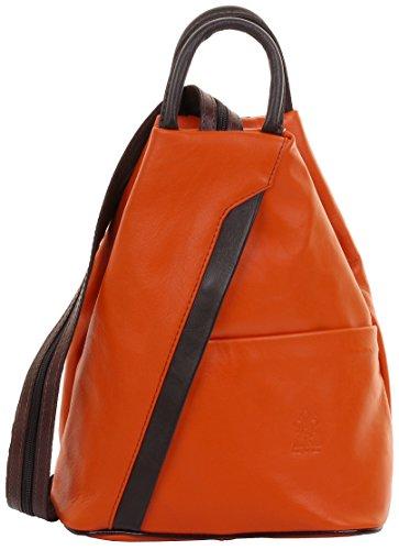 (Primo Sacchi Italian Soft Napa Leather Orange & Brown Top Handle Shoulder Bag Rucksack Backpack)