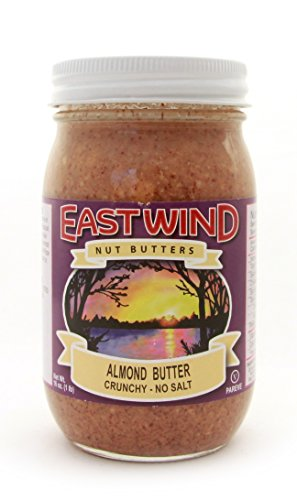 East Wind Crunchy Natural Almond Butter No Salt Case of 12 Jars