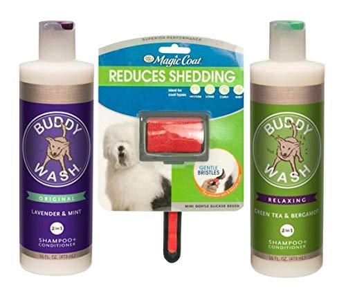 Cloud Star Dog Shampoo Conditioner-Buddy Wash 1 Lavender & Mint 1 Green Tea & Bergamot 1 Dog Brush ()