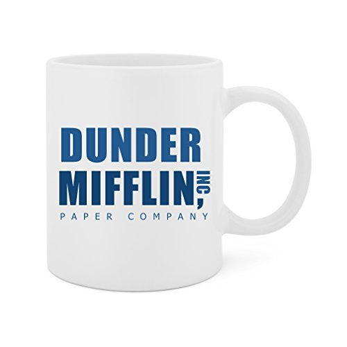 Among Friends Paper - Dunder Mifflin Paper Company, Inc. (The Office) - 11 Oz White Ceramic Glossy Mug With Large C-handle (Microwave and Dishwasher Safe)