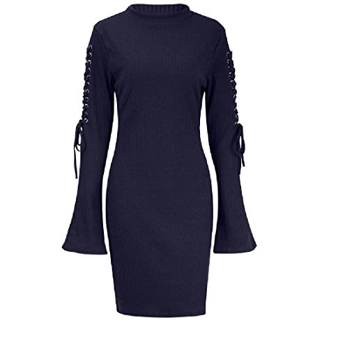 Bandage Sleeves Pattern1 Length Mid Trumpet Size Plus Dress Coolred Women Solid pCqXw15W