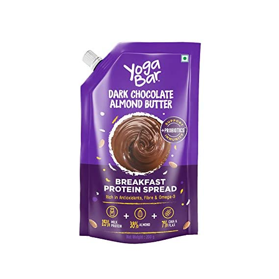 Yogabar Almond Butter | Dark Chocolate | Keto Choco Spread with Whey Protein, Iron & Magnesium | Bread Spread Made with