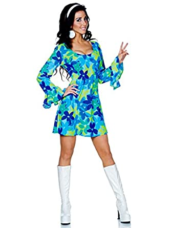 60s Dresses | 1960s Dresses Mod, Mini, Hippie Underwraps Costumes Womens Retro Hippie Costume - Wild Flower $48.27 AT vintagedancer.com