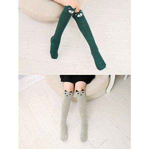 6 Pack Girls Socks, Cotton Over Calf Knee High Socks (Cartoon Animal Panda Cat Bear Fox) by Fansco (Image #4)