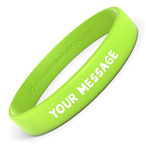 Reminderband 100 Classic Printed Silicone Wristbands (Lime Green, Medium)