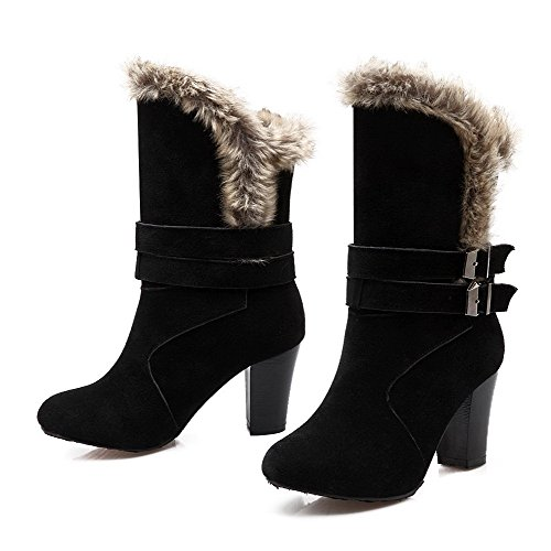 Women's Toe Shi top Xi Mid Velvet Round AmoonyFashion Frosted Solid Closed Black Boots dwnBqWCUI