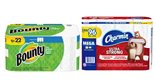 Bounty Select A-Size Paper Towels White in 12 Super Rolls = 22 Regular Rolls with Charmin Ultra Strong Toilet Paper 24 Mega Roll 286 Sheets Per Roll
