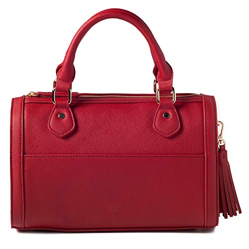 Marsi Bond Classic Vegan Faux Leather Barrel Bag Inspired Duffle Satchel Purse Red