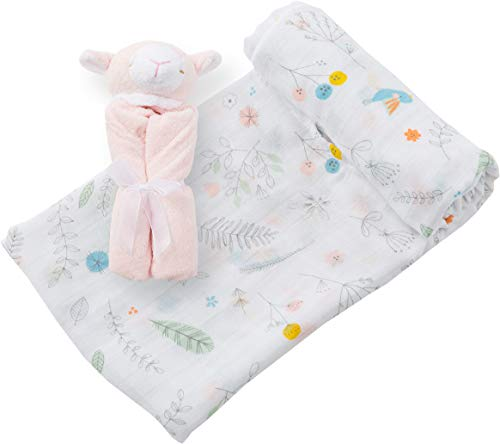 Angel Dear Swaddle and Blankie Gift Set, Pretty Foilage with Pink Lamb