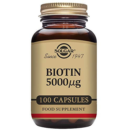 Mcg 100 Capsules Vegetable (Solgar Super Potency Biotin 5000 mcg, Non-GMO, Supports Healthy Skin, Nails & Hair, 100 Vegetable Capsules)