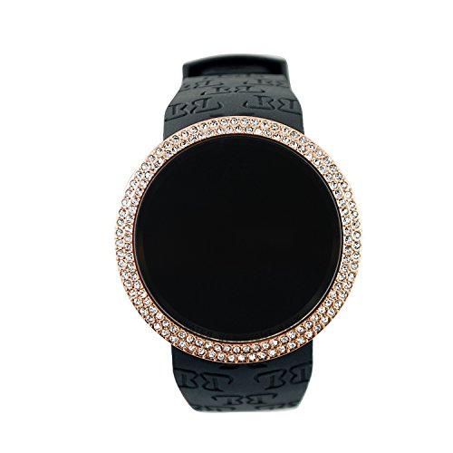 Techno Pave Iced Out Bling Lab Diamond Rose Gold Black Digital Touch Screen Sports Watch Silicone ()