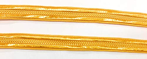 Yellow Gold Braid - Rayon, Sewing,Quilting Trimming -3/8'' (10mm)- 5 Yards