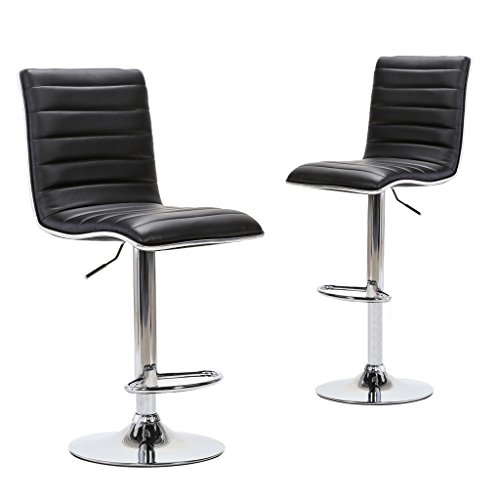 Adjustable Swivel Office Chair (Chiming Black Stripes Pattern Adjustable Swivel Office Chair PU Leather Silver Rim Bar Stools, Set of 2)
