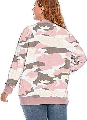 YASAKO Womens Plus Size Casual Tie Dye Camo Print Long Sleeve Shirts Crew Neck Loose Fit Sweatshirt Pullover Tops (Camouflage Pink, 3X-Large)