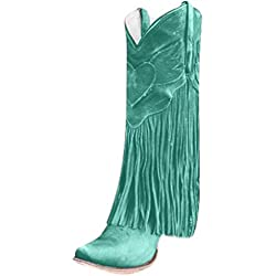 ✦◆HebeTop✦◆ Women's Fringe Moccasin Flat Heel Zipper Under Knee High Boots Green