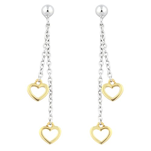 UNICORNJ Adult Tweens Teens 14k White and Yellow Gold Small Open Heart Long Dangle Post Earrings by Unicornj