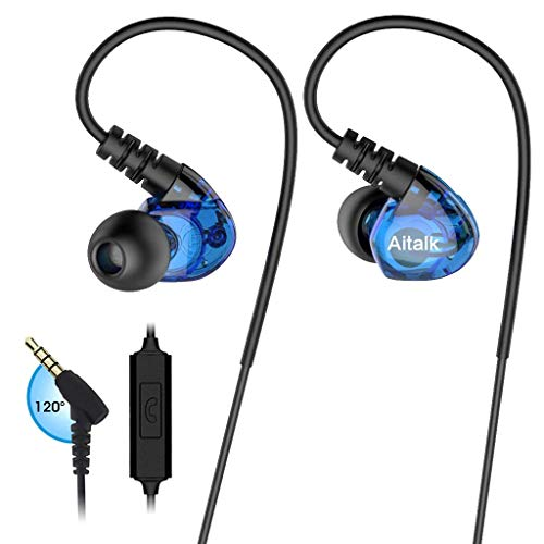 In Ear Headphones, Sports Earbuds Wired Earphones Over Ear Workout Earbuds with Microphone for Running Jogging Gym Exercise, Earphones for Phones (Blue) by RooRuns (Image #4)