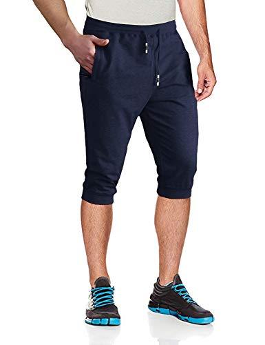 MAGCOMSEN Mens 3/4 Joggers Sweatpants Capri Shorts Below Knee Pants Zipper Pockets Walking Shorts Gym Shorts Running Shorts Jogger Pants for Men - 3/4 Shorts Pants Length Men
