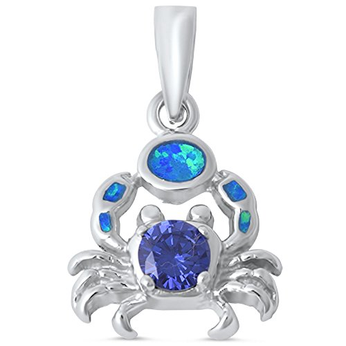 (Simulated Tanzanite & Lab Created Blue Opal Crab .925 Sterling Silver Pendant )