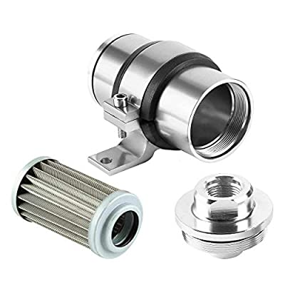 Billet Aluminum Inline Fuel/Gas/Petrol Filter+Bracket Cleanable 30 Micron for AN6 AN8 AN10 Silver: Automotive