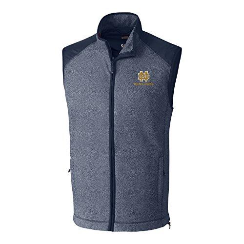 Cutter & Buck NCAA Notre Dame Fighting Irish Adult Men Cedar Park Full Zip Vest, X-Large, Liberty Navy Heather
