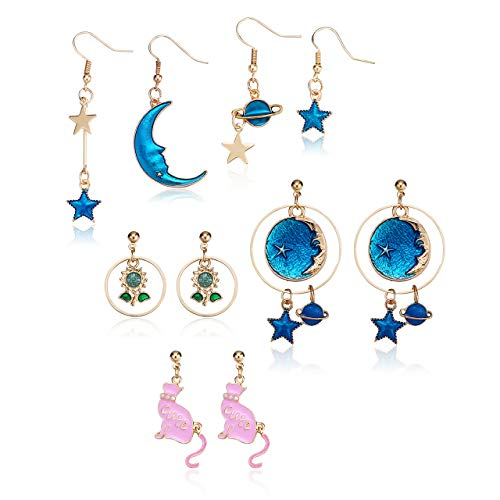 Top Plaza 5 Pairs Moon and Star Earth Planet Drop Earrings Cute Funny Colorful Dangle Statement Earrings Set Fashion Jewelry for Womens Girls #3