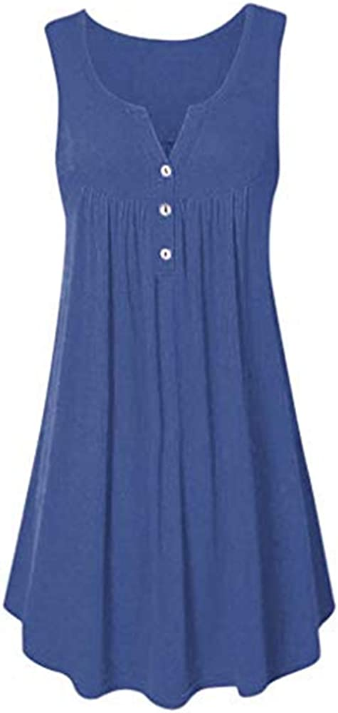 Aniywn Plus Size Women Dresses Casual Loose Summer Tunic Tank Dress Pleated Swing Midi Dress Beach Sundress