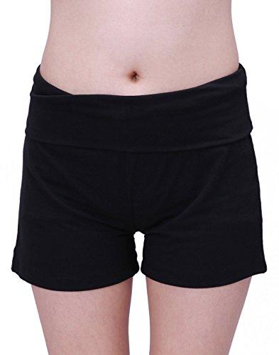 HDE Women's Maternity Yoga Shorts Stretch Pregnancy Shorts Fold Over Waistband (Black, Large)