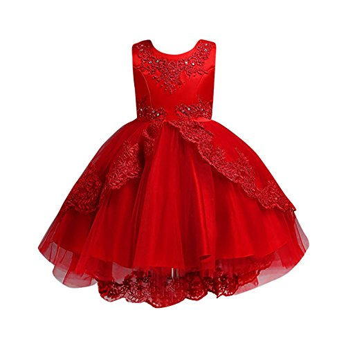 WOCACHI Toddler Baby Girl Dresses, Toddler Kids Girls Wedding Flower Dress Lace Princess Party Formal Dress Clothes Back to School Easter Egg Costume Parade Bunny Lily Eggs Roll Cushaw Basket Red]()