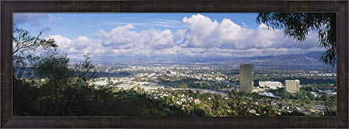Studio City, San Fernando Valley, Los Angeles, California by Panoramic Images Framed Art Print Wall Picture, Espresso Brown Frame, 35 x 13 inches