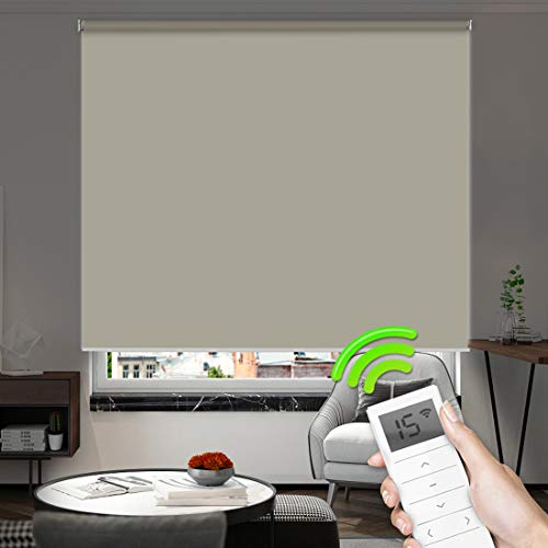 Motorized Window Roller Shades Blinds Remote Control Wireless and Rechargeable -100% Blackout Waterproof Fabric Window Shades for Smart Home and Office Customized Size (Coffee)
