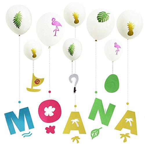 Moana Hawaiian Luau Happy Birthday Banner With 8 Balloons /Birthday Party Decorations (Hawaiian Happy Birthday)