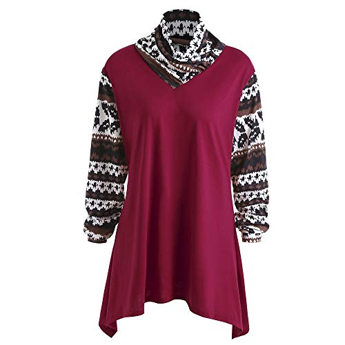 Nextmia Geometric Ethnic Print Asymmetrical Hem Long Sleeve T Shirts for Women Plus Size from Nextmia