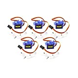 DaFuRui 5Pcs SG90 Micro Servo Motor Mini 9G Compatible for Arduino RC Robot Helicopter Airplane Boat Controls