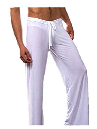 Leright Men's Yoga Long Pants Loose-Fitting Pajama Trousers Lounge Sleep Pants, White, XL(US Size L)